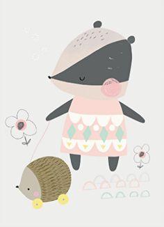 cute animal illustration with hedgehog