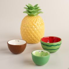 Tropical Fruit Ceramic Measuring Cups, Pineapple, Watermelon, Coconut & Lime NEW in Home, Furniture & DIY, Cookware, Dining & Bar, Baking Accessories | eBay