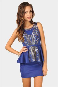 Melanie Studded Dress - Royal Blue