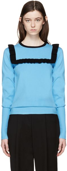 J.W.ANDERSON Blue Frill Sweater. #j.w.anderson #cloth #sweater