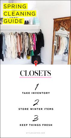 Spring Cleaning Tips for EVERY Room—The Closets—Save this handy checklist for later + click-through for more lists and details on how to organize, de-clutter, and tidy up this Spring!