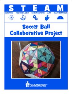 Family Math Night Soccer Ball Collaborative Project. A super fun STEAM activity that gets everyone involved. Math concepts are woven into the lesson as kids and parents are having fun!