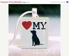 I Love My Dog  pendant jewelry from a scrabble tile by HomeStudio