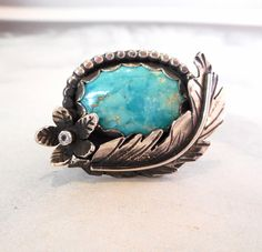 Turquoise Ring // Lucky Feather & Floral // by TarnishedAndTrue
