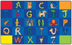 A to Z Animals Rectangle Classroom Area Rug 7'6 x 12'