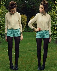 Button ups with shorts and tights -- black tights with black heels elongate legs.
