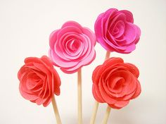 Set of 24Pcs - 3D 'ROSE ' Party Picks, Cupcake Toppers, Toothpicks, Food Picks ( Bright Pink, Fuchsia, Coral )