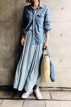Cute Fashion, Spring Fashion, Fashion Outfits, Womens Fashion, Long Skirt Fashion, Japanese Fashion, Everyday Outfits, Denim Shirt, Casual Wear