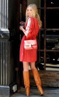 Elsa Hosk red dress + calf boots = stylish <3