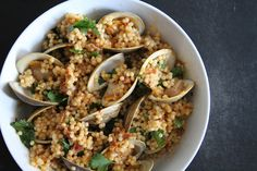 Pearl Couscous with Clams and Prosciutto