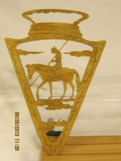 THIS ARROWHEAD INDIAN ON HORSE SCROLL SAW PLAQUE IS APPROX 6 3/4  W X 10 1/4  H X 1/4 THICK AND HAND MADE BY MIKE. Each piece is sanded and