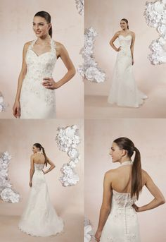 Style 5985 is our pick for Dress Of The Week. Organza flowers, delicately placed bugle beads and crystals, accent the sweetheart neckline on this wedding dress. This A-line dress comes with a tulle and lace detachable halter collar.    Sweetheart Gowns #weddingdress