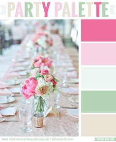 The pinks, greens, and taupe in this party table are so romantic and sweet! #colorpalette