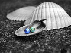 Pearls / color splash photo gallery / blue and green