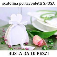 10 pz scatoline porta confetti a forma di sposa