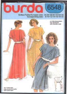 Burda 6548 Dress  Size:  8/10-12/14-16/18-20  Uncut