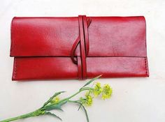Handmade red leather checkbook wallet for women by LeatherBuzz