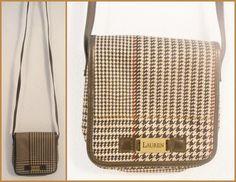 Lauren Ralph Lauren Cross Body Messenger Bag Purse Handbag Brown