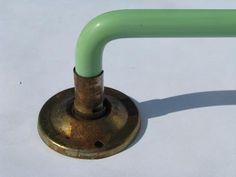 "glass rod towel bars | Depression vintage jadeite green colored glass towel bar, 15"" long ..."