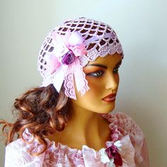Hand Crochet Bride Pink Lace Hat Handmade Lace by RoseAndKnit