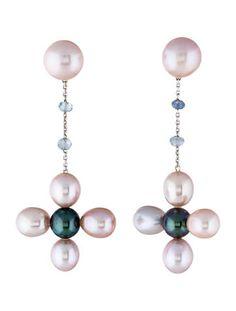 18K Multicolor Pearl & Sapphire Earrings