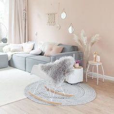 Cozy and Colorful Pastel Living Room Interior Style 2 Pastel Living Room, Living Room Decor Colors, Cozy Living Rooms, Living Room Paint, Living Room Grey, Living Room Sofa, Living Room Interior, Living Room Furniture, Living Room Designs