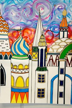 Splish Splash Splatter: Russian Architecture Inspired by Tchaikovsky Art Et Architecture, Russian Architecture, Education Architecture, Classe D'art, Wal Art, 6th Grade Art, Graffiti Artwork, Ecole Art, Gaudi