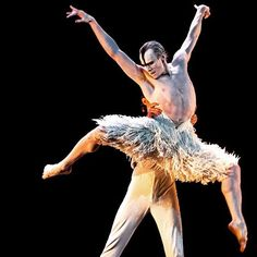 Edward Watson being held aloft by Ivan Putrov in Matthew Bourne's Swan Lake…
