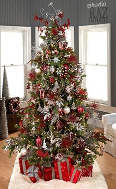white christmas tree with red and silver decorations | Nice Decoration