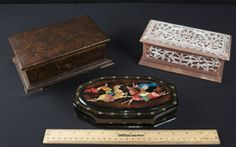 BOXES/TRUNKS. PRETTY HINGED HAND PAINTED LAQUER RUSSIAN BOX PAINTED WITH MEN FIGHTING ON HORSES - VINTAGE MUSIC BOX THAT PLAYS CLASSICAL MUSIC, MADE IN SWITZERLAND (NOT IN WORKING CONDITION, MAY HAVE BEEN OVER WOUND) - BEAUTIFUL HANDCRAFTED BOX MADE OF GENUINE MARLESTONE MARBLE.