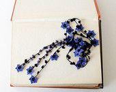 Crochet Lariat Necklace Oya Blue Flowers Black Leaves Natural Stones Beaded Lariat Jewellery Beadwork ReddApple,  Gift Ideas for Her