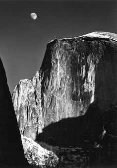 Moon Over Half-Dome, Yosemite National Park, USA, 1960 | photographed by Ansel Adams- For at least 7 years of my life, this exact photograph has been displayed at my house.