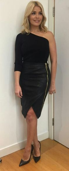 Holly Willoughby sexy in leather