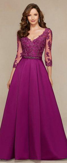 Elegant Satin V-neck Floor-length A-line Mother of the Bride Dresses with Lace Appliques