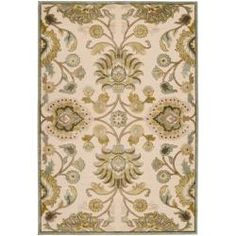 @Overstock - Woven in viscose and acrylic chenille, this rug features colors of ivory, beige, ice blue, light green, dark brown. Its unique design makes this rug perfect for your home.http://www.overstock.com/Home-Garden/Woven-White-Bassler-Viscose-Rug-52-x-76/6654838/product.html?CID=214117 $159.89