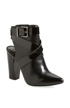 Free shipping and returns on BCBGeneration 'Jezebelle' Pointy Toe Cutout Bootie (Women) at Nordstrom.com. A cutout heel counter and wraparound belts add season-spanning style to a leather bootie shaped with a graceful pointed toe.