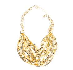 Gold Sphere multi-row statement link chain necklace jewelry