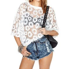 Floral Pattern Scoop Collar See-Through Loose-Fitting Stylish Women's T-Shirt