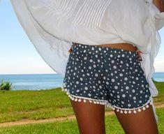 Pom Pom Shorts ! Navy Polka dot pattern with White di ljcdesignss, $29.00 #pompomshorts