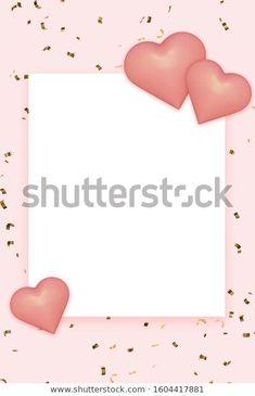 Ilustración de stock sobre Pink Hearts On Golden Confetti Background 1604417881