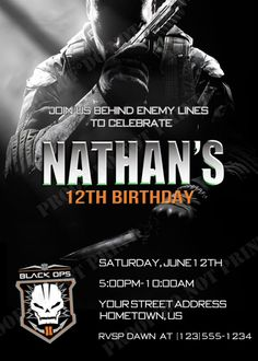DIY PRINTABLE - Call of Duty Black Ops 2 Party Invitations $12.00