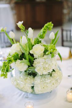 White Rose and Hydrangea Arrangement | photography by http://julia-wade.com/site