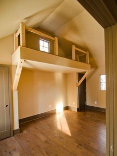 Loft for kids space. From the HGTV Green Home Before and After Room Pictures : Green Home : Home & Garden Television Girls Furniture, Room Pictures, Green Pictures, Garage Apartments, Cozy Cabin, Kid Spaces, Beautiful Bedrooms, Smart Home, Hgtv