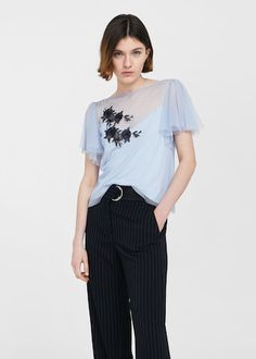 Embroidered tulle t-shirt -  Women | MANGO USA