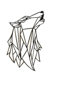 Original Wolf Papercut Art: 7x5.5 geometric paper original