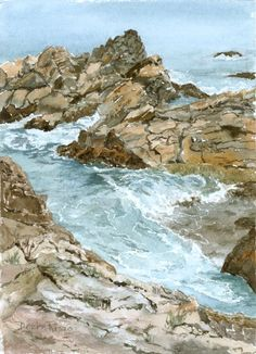 www.etsy.com/shop/DeniseRizzoStudio.  This is a high quality 5.5 x 7.5 inch giclee print of an original watercolor painting of the tide coming in on coast of Maine near Cape Neddick. It is printed on Hahnmuhle German Etching paper.