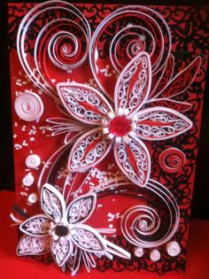 Quilled red black and white flowers quilling pinterest handmade greeting card envelo box any occasion quilling art on etsy 1373 m4hsunfo