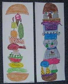 Silly sandwiches: Wortarten stapeln z.B. Nomen, Adjektiv, ... ersetzen, zeichnen, stapeln
