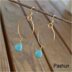 Seashell Jewelry ... Turquoise Teardroops on Gold Hoop by Pashun, $5.00
