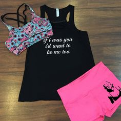Sugar skull sports bra with lyrics tank top and Marilyn Monroe shorts